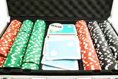 Chips and cards in the case Royalty Free Stock Photos