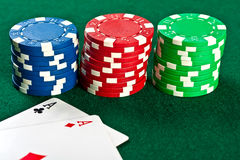 Chips and cards for the poker. Royalty Free Stock Images