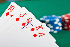 Chips and cards for the poker. Royalty Free Stock Photography