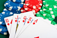 Chips and cards for the poker. Royalty Free Stock Photos
