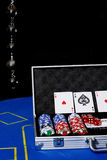 Chips and cards on poker table. Preparation for a poker game Royalty Free Stock Photography