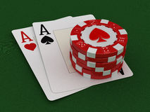 Chips of casino and aces (clipping path included) Stock Photos