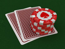 Chips of casino and cards (clipping path included) Stock Photos