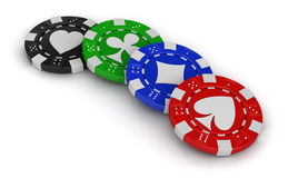 Chips of casino (clipping path included) Stock Image