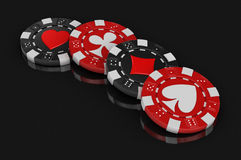 Chips of casino (clipping path included) Royalty Free Stock Image