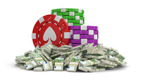 Chips of casino and Pile of Euros (clipping path included) Stock Photography