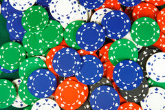 Chips on casino table. A lot of chips on casino table Stock Image