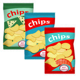Chips with cheese. Chips with paprika, vector illustration,  on white background Royalty Free Stock Photography