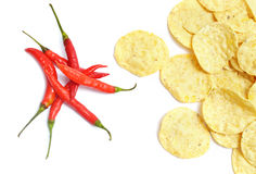 Chips and chili Stock Images