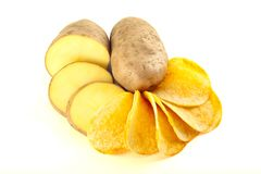 Chips and chopped potato. Arrangement of chips and chopped potato isolated on a white Royalty Free Stock Photography