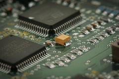 Chips on circuit board Stock Image