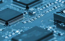 Chips on circuit board Stock Photography