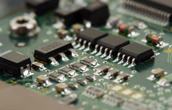Chips on circuit board Stock Photo