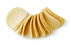 Potato chips close-up, isolated over white Royalty Free Stock Photo