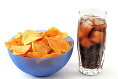 Chips and cola Royalty Free Stock Photo
