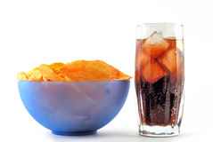 Chips and cola Royalty Free Stock Images