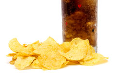 Chips and Cola Royalty Free Stock Photos