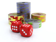 Chips and dice Royalty Free Stock Images