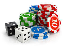 Chips and dice game from casino Stock Photos