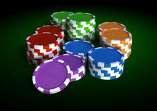 Chips and dices. 3d image of colorful chips on a green table Stock Image