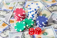 Chips dices dollars Stock Photos