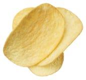 Chips die op witte achtergrond worden geïsoleerd= Stock Foto