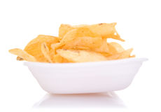 Chips on dish. Chips on a dish a white background Stock Image