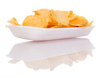 Chips on dish. A white background Stock Images