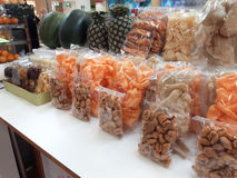 Chips from dried fruits and vegetables. Shop in Samui, Thailand. Stock Photography
