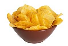 Chips in een schotel Stock Foto's