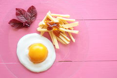 Chips with egg Stock Photography