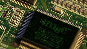 Chips on a electronics. Printed circuit board stock footage