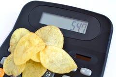 Chips en calorieën royalty-vrije stock fotografie