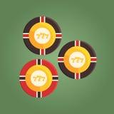 Chips Equivalent To Money de juego, juego y ejemplo relacionado de la historieta del club de noche del casino Foto de archivo libre de regalías