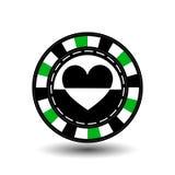 Chips für Poker grünen Herz in der Mitte und Rechtecke mit einer Seite runde weiße punktierte Linie eine Ikone auf dem lokalisier Lizenzfreies Stockbild