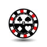 Chips für Poker rotes fithe in der Mitte und Rechtecke mit einer Seite runde weiße punktierte Linie eine Ikone auf dem lokalisier Stockfotos