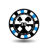Chips für Pokerblau 50 in der Mitte und in den Rechtecken mit einer Seite runde weiße punktierte Linie eine Ikone auf dem lokalis Lizenzfreies Stockbild