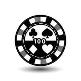 Chips für Pokergrau 100 in der Mitte und Rechtecke mit einer Seite runde weiße punktierte Linie eine Ikone auf dem lokalisierten  Lizenzfreies Stockfoto