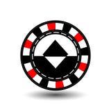 Chips für roten Diamanten des Pokers in der Mitte und in den Rechtecken mit einer Seite runde weiße punktierte Linie eine Ikone a Stockfotografie