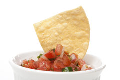 Chips and Fresh salsa in a bowl Stock Photos