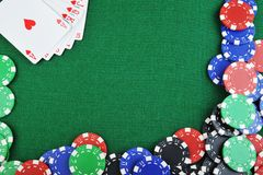 Chips for gamblings and cards Royalty Free Stock Photography