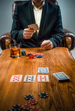 The chips for gamblings, drink and playing cards Stock Image