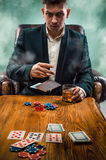 The chips for gamblings, drink and playing cards Stock Photography