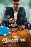 The chips for gamblings, drink and playing cards Stock Photo
