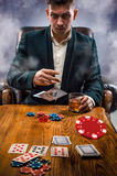 The chips for gamblings, drink and playing cards Stock Photos