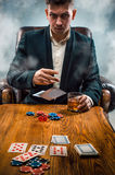 The chips for gamblings, drink and playing cards Royalty Free Stock Photos