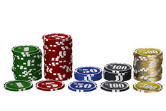 Chips graph. Gambling chips in a graph on white background stock images