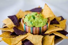 chips guacamoletortillaen Fotografering för Bildbyråer