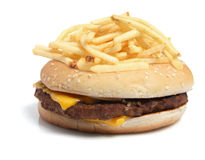 Chips on Hamburger Stock Images