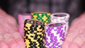 chips många poker HD arkivfilmer